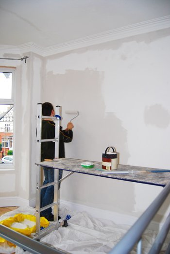 Painting Walls with Roller