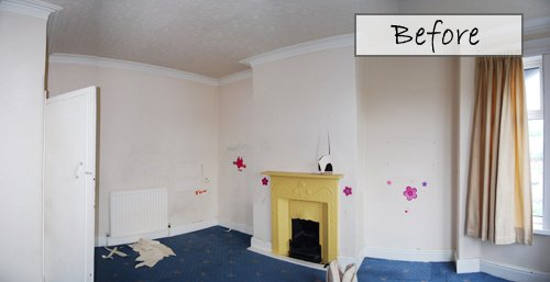 Bedroom Before with Fireplace