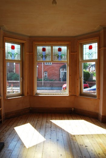 Bay Window with Sanded Floorboards
