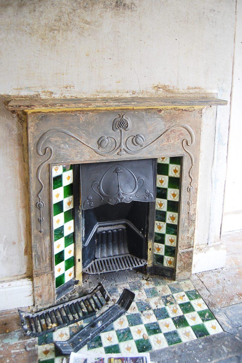 Edwardian Cast Iron Fireplace During Restoration