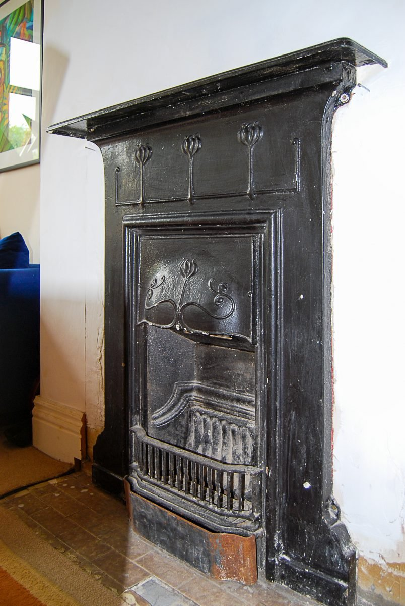 Period fireplace before restoration