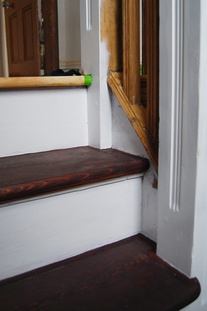 Edwardian Staircase Restoration - Dark Treads and White Risers - Little House On The Corner