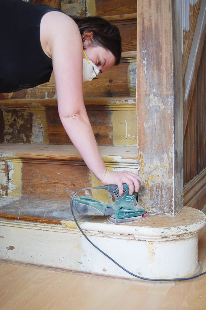 Edwardian Staircase Restoration - Sanding Treads - Little House On The Corner