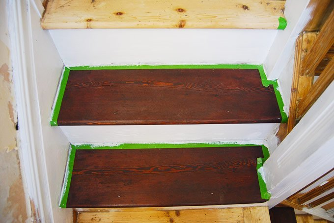 Edwardian Staircase Restoration - Staining Wooden Treads and Painting Risers- Little House On The Corner
