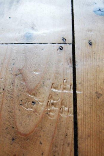 Dints In Wooden Floorboard