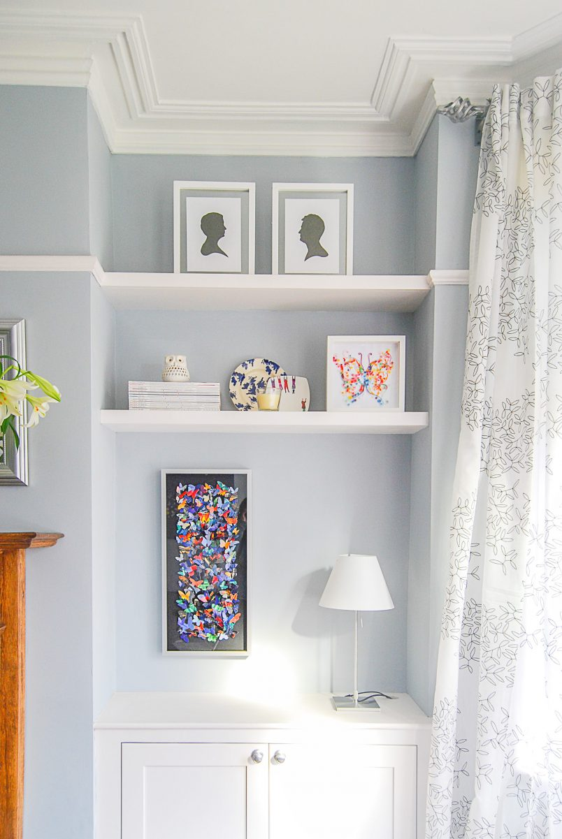 DIY Butterfly Art In Alcove With Floating Shelves And Built In Cupboard