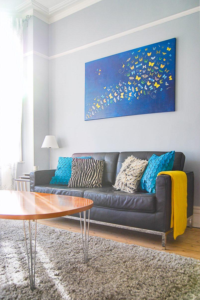 Edwardian Living Room Blue Grey Walls