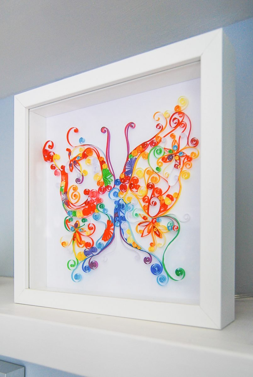 Handmade Quilled Butterfly Art