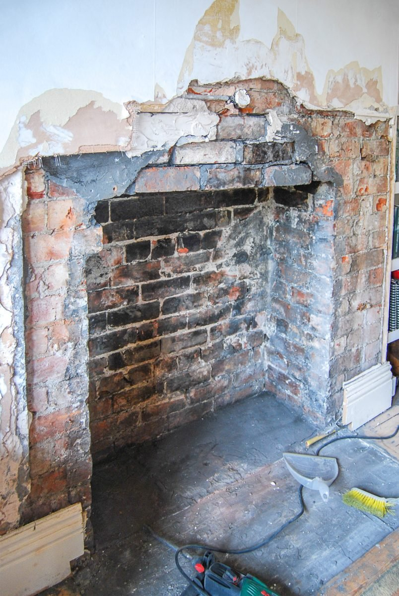 Preparing An Opening In A Chimney For A Log Burner