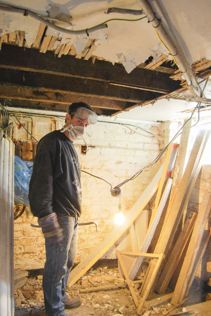 Taking Down The Cellar Ceiling