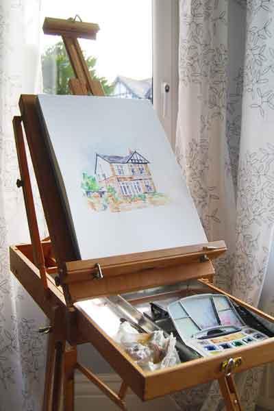 watercolour house portrait