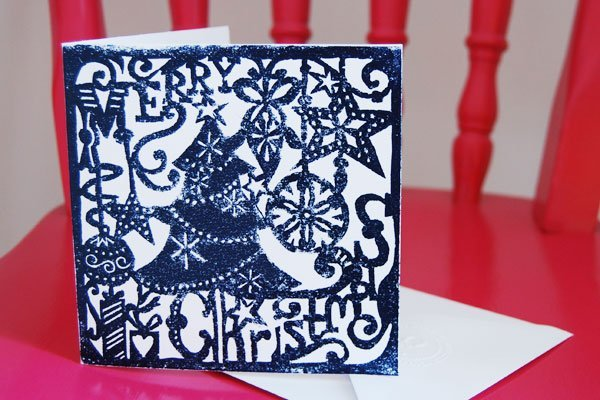 Lino Printed Christmas Card