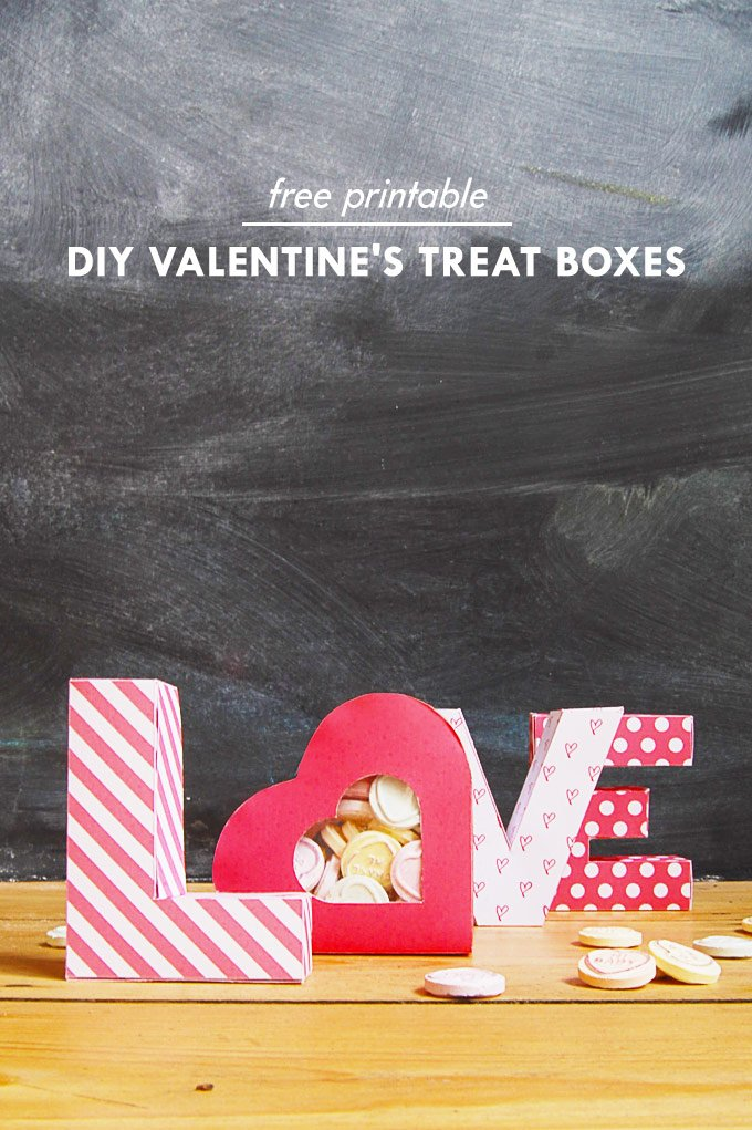 Valentines Treat Boxes - Free Printable | Little House On The Corner