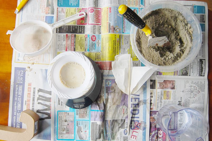DIY Concrete Letter Bookends - Mixing | Little House On The Corner