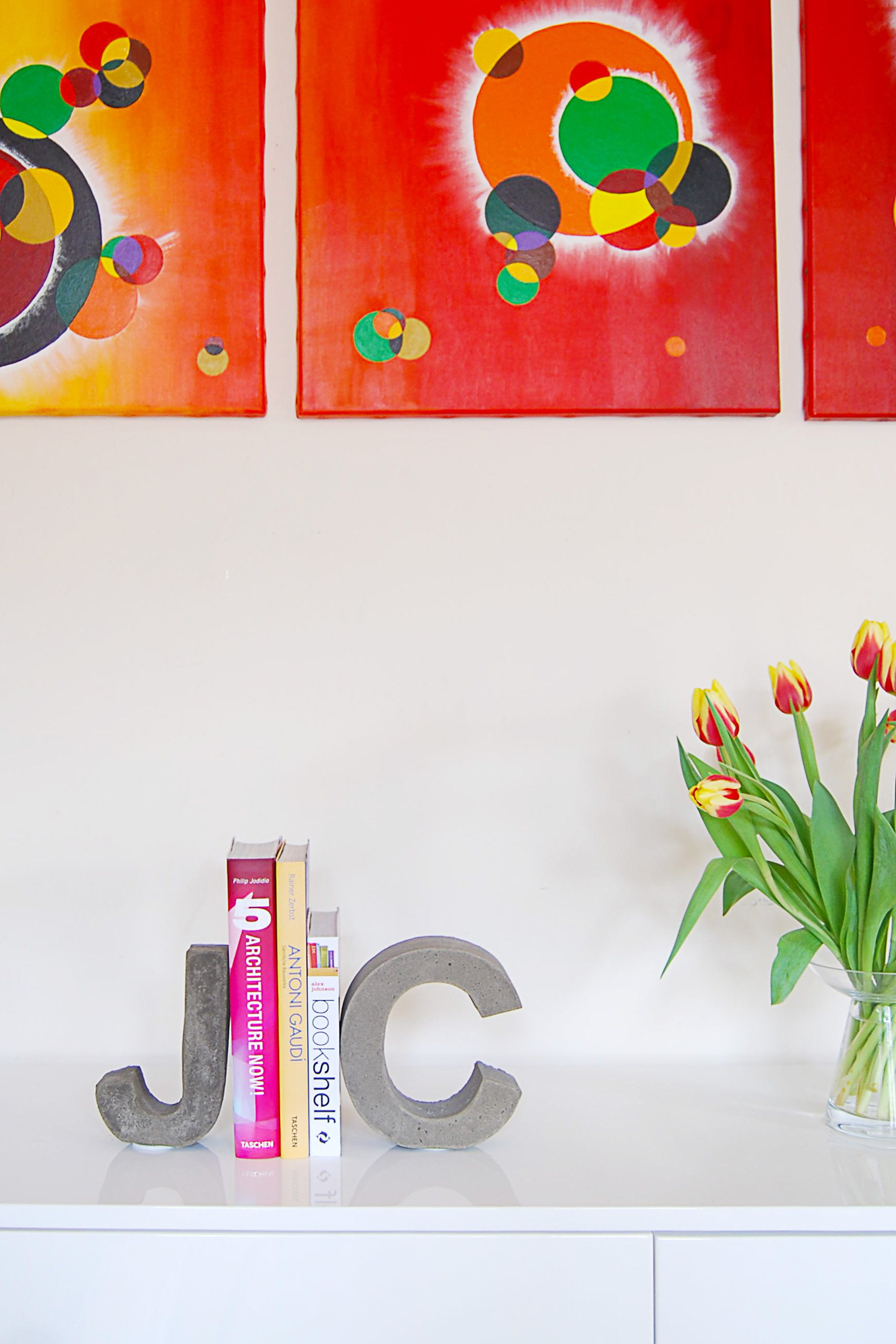 DIY Concrete Letter Bookends   Little House On The Corner