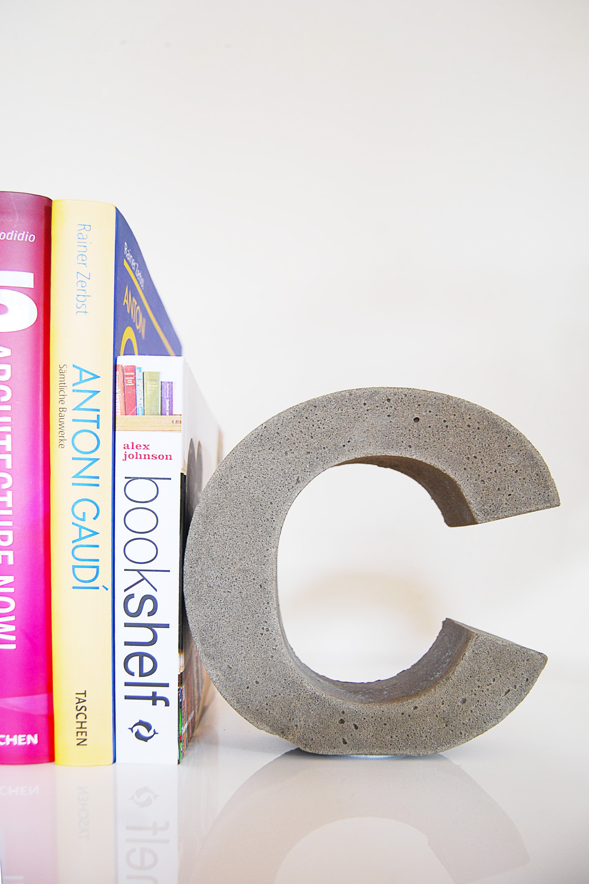 DIY Concrete Letter Bookends | Little House On The Corner