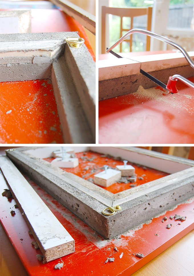 DIY Concrete Picture Frame - Removing The Mould | Little House On The Corner