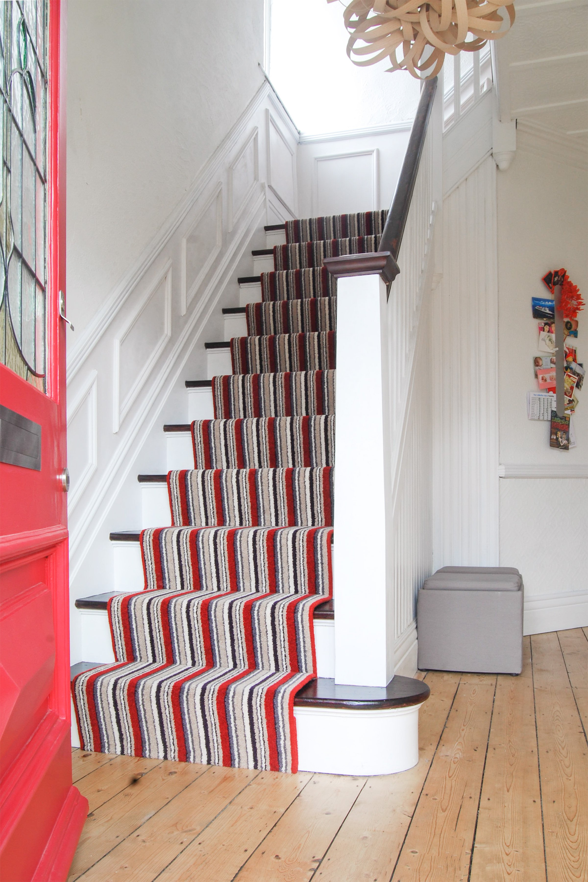 Staircase Stained Treads & White Risers with striped runner | Little House On The Corner