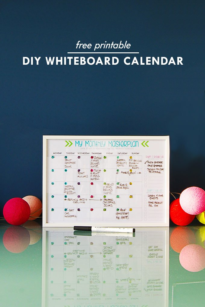photograph about Printable Whiteboard known as Do it yourself Calendar Whiteboard - Minor Home Upon The Corner