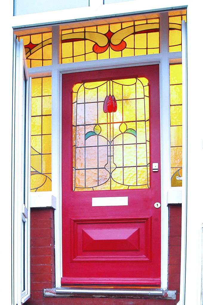 Edwardian Front Door With Stained Glass