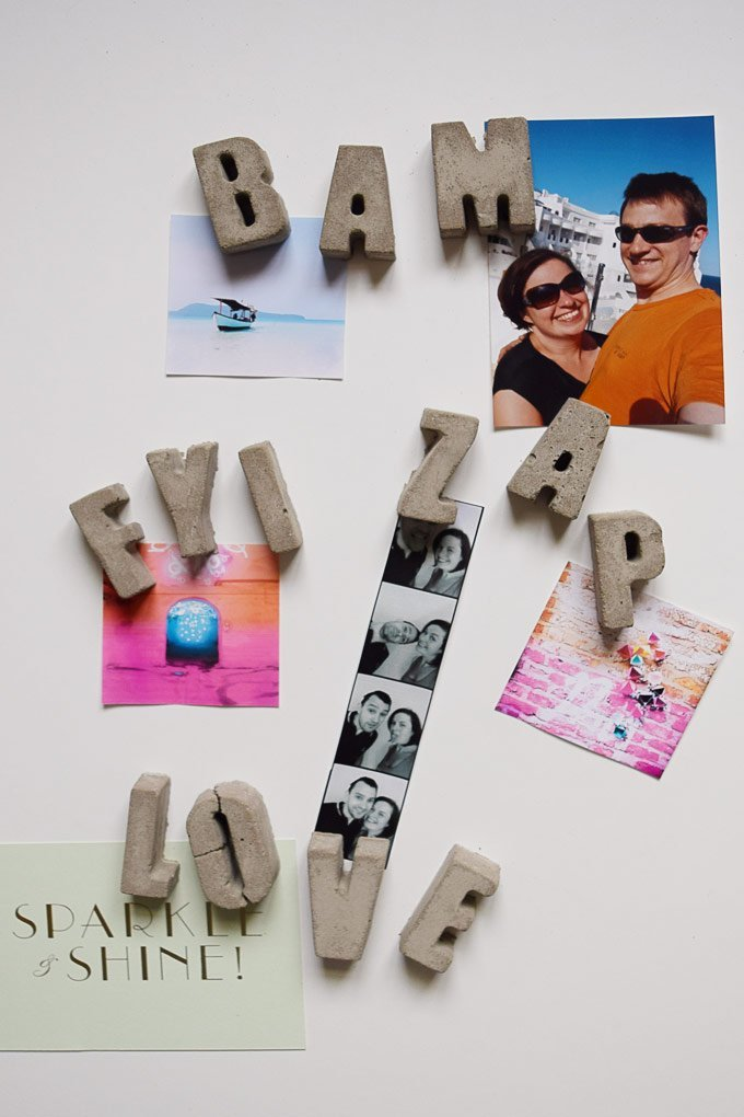 DIY Concrete Letter Magnets