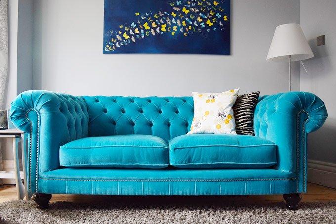 Turquoise Velvet Chesterfield
