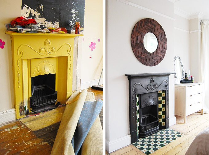 Restored Fireplace Before & After