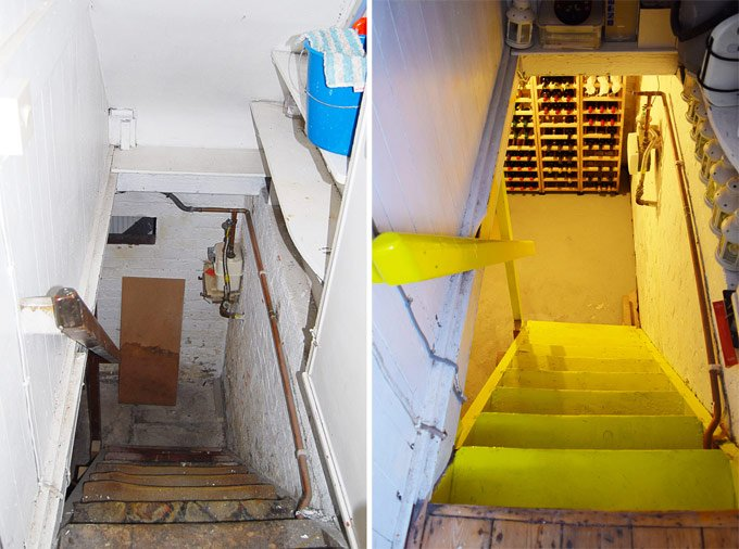 Cellar - Down Stairs Before and After