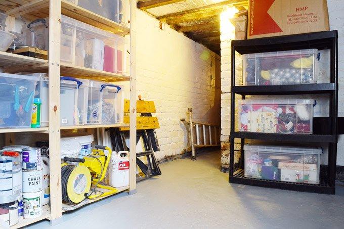 Cellar with new concrete floor