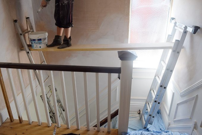 Scaffolding Over Stairs For Painting
