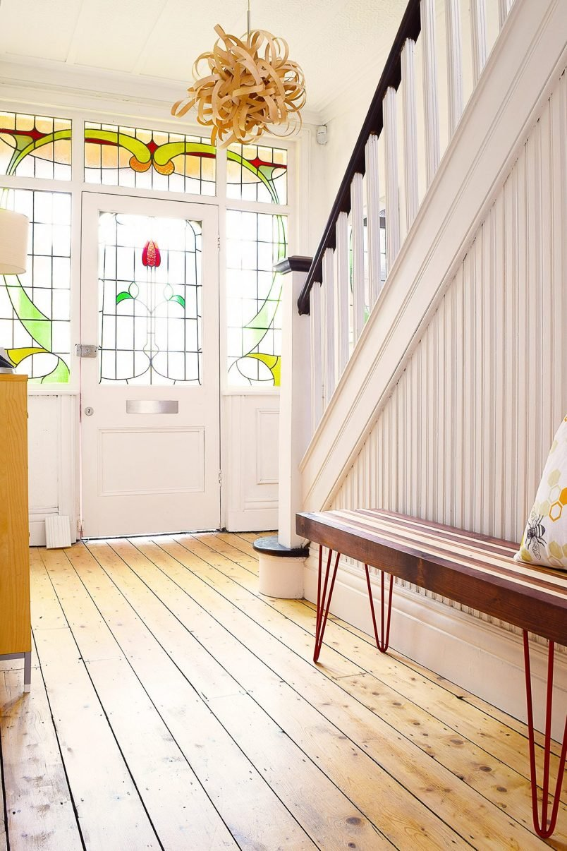Edwardian Hallway With Stained Glass and Wooden Bench | Little House On The Corner