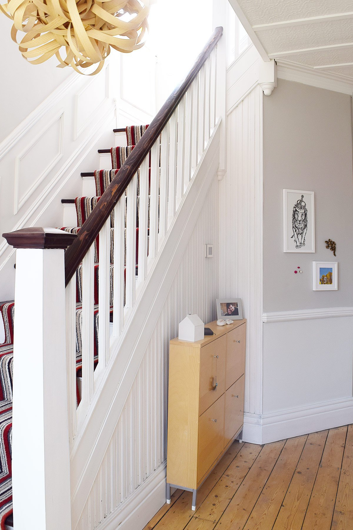 Edwardian Hallway with Striped Stair Runner and Cornforth White Walls | Little House On The Corner