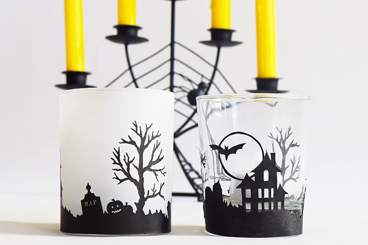 DIY Halloween Votive Candles - Free Printable - Little House On The Corner