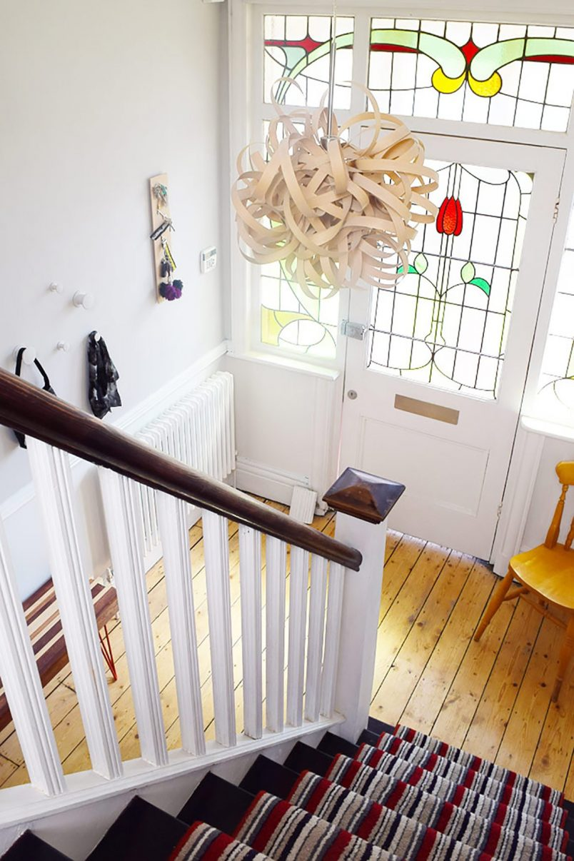 Edwardian Hallway with Striped Stair Runner, Cornforth White Walls & Stained Glass Front Door | Little House On The Corner