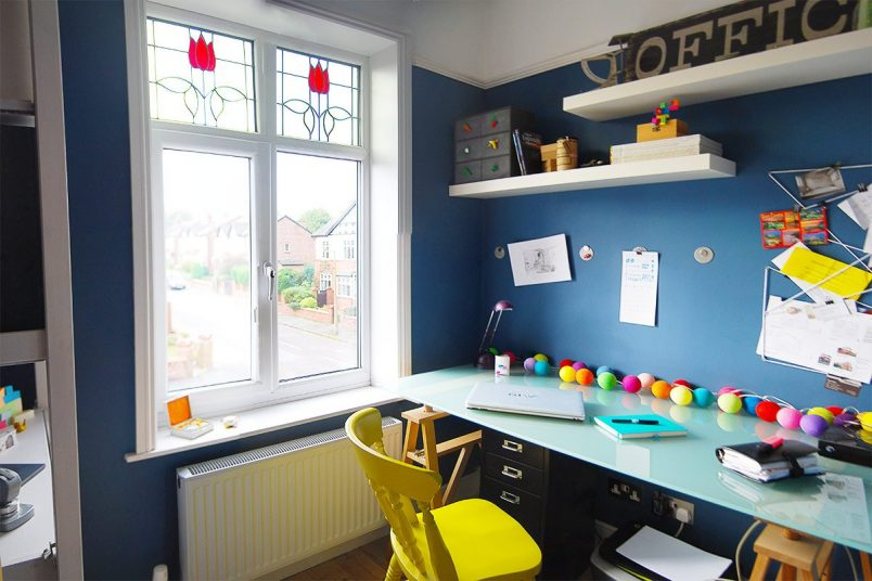 Tiny Home Office - Dark Blue Walls | Little House On The Corner