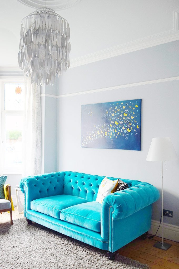 Modern Edwardian Living Room - Turquoise Velvet Chesterfield Sofa - Dulux Steel Symphony Walls