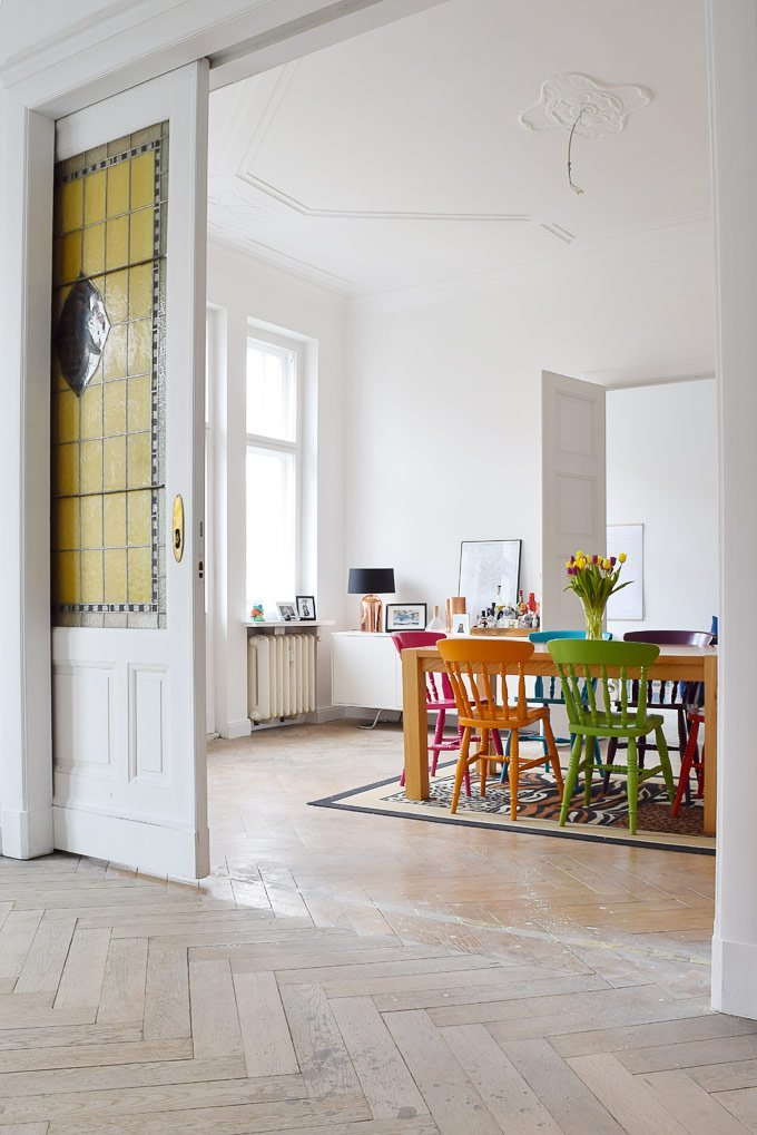 Berlin Apartment With Stained Glass Door