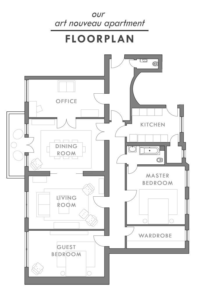 Art Nouveau Apartment - Existing Layout | Little House On The Corner