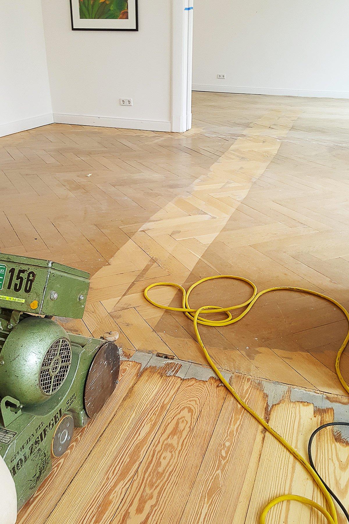 Parquet Sanding In Progress