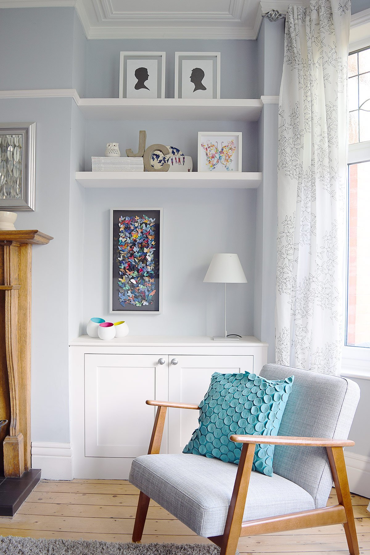 Living Room with Blue Grey Walls and Built-In Alcove Cupboards | Little House On The Corner