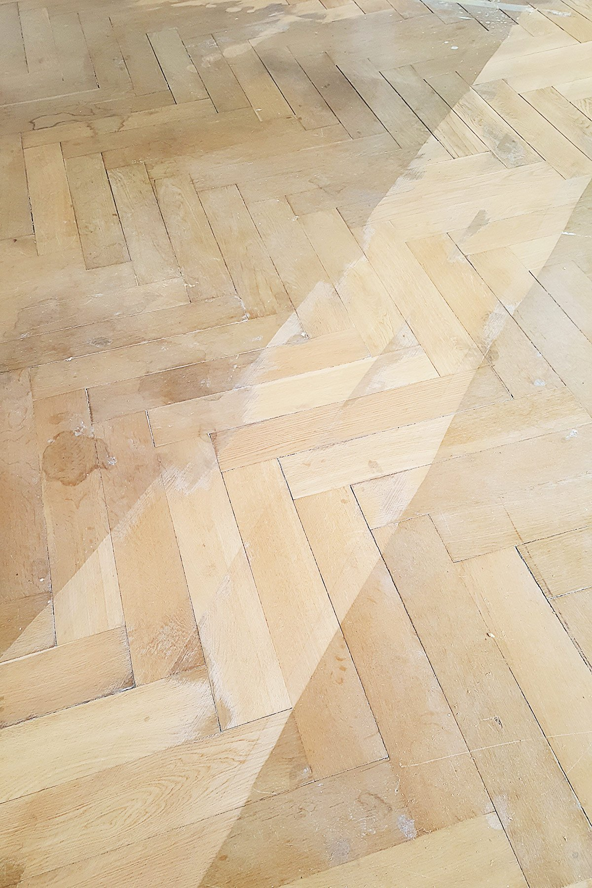 Sanding A Herringbone Parquet Floor | Little House On The Corner