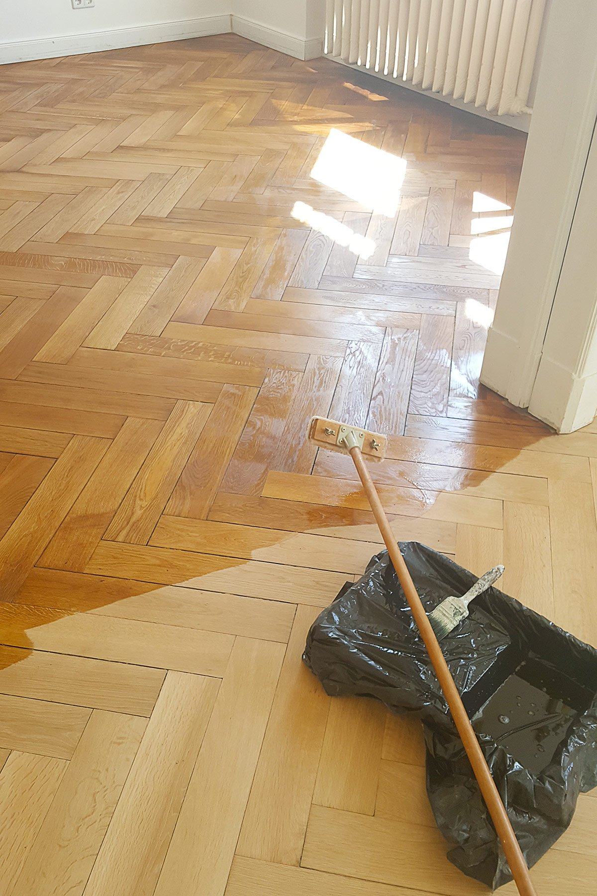 Oiling Herringbone Parquet Floor | Little House On The Corner