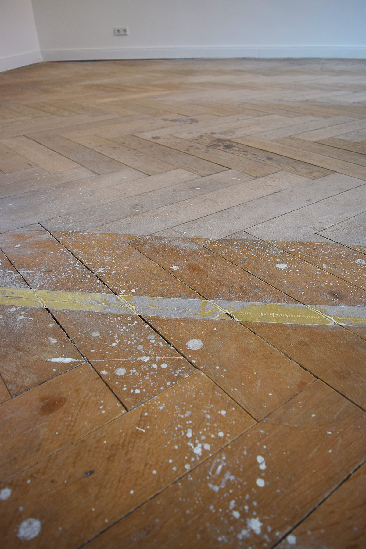 Herringbone Parquet Floor Before Sanding | Little House On The Corner