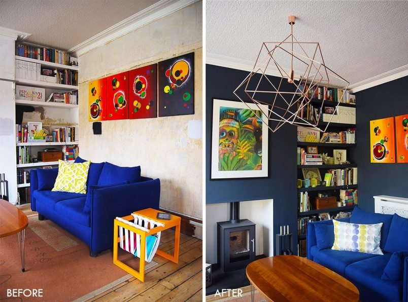Lounge Before and After with Dark Walls | Little House On The Corner