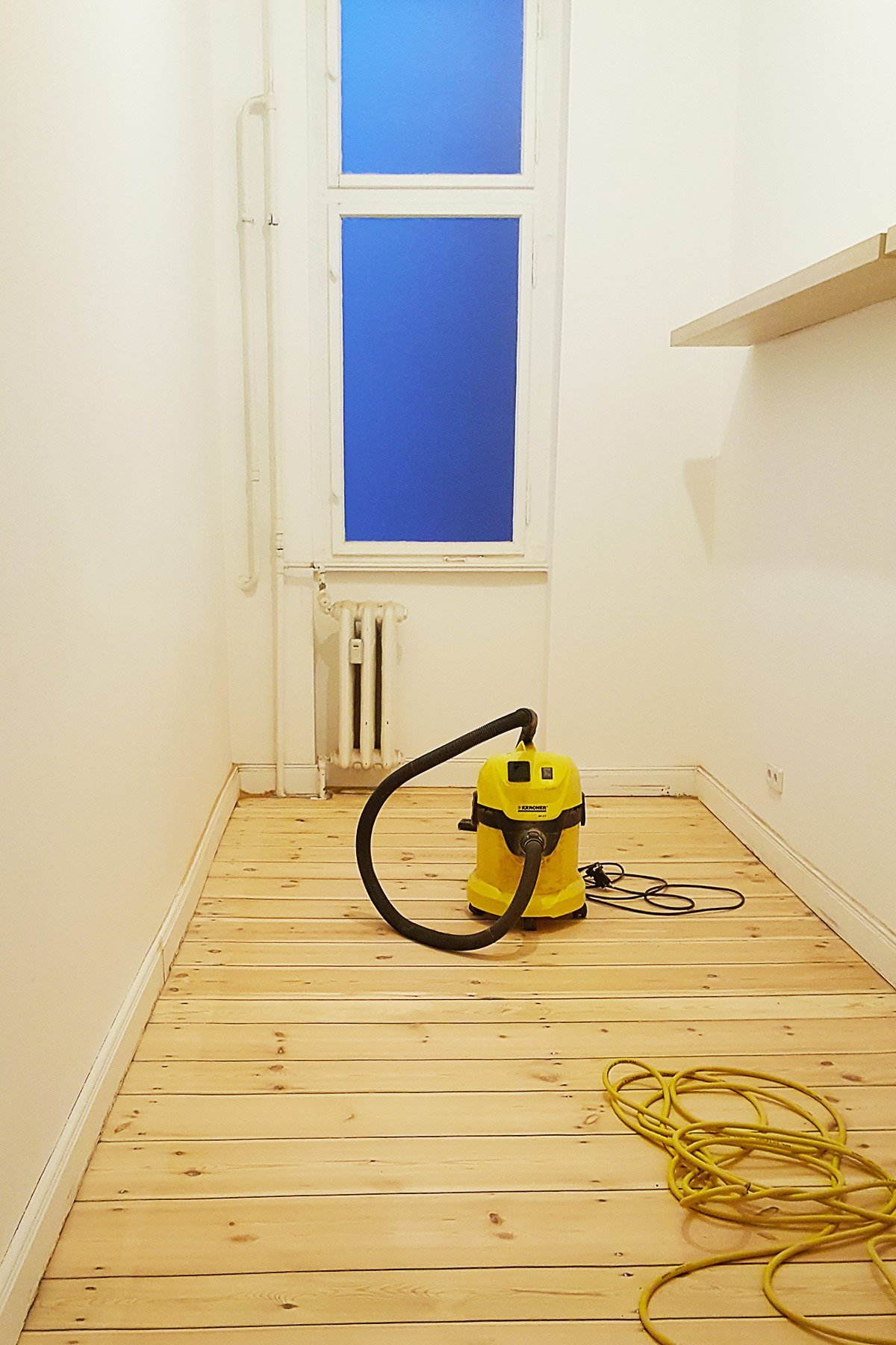Sanding The Dressing Room Floor | Little House On The Corner