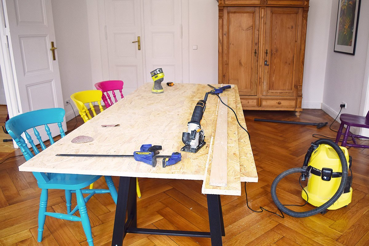 DIY Dining Table - Cutting The Board | Little House On The Corner