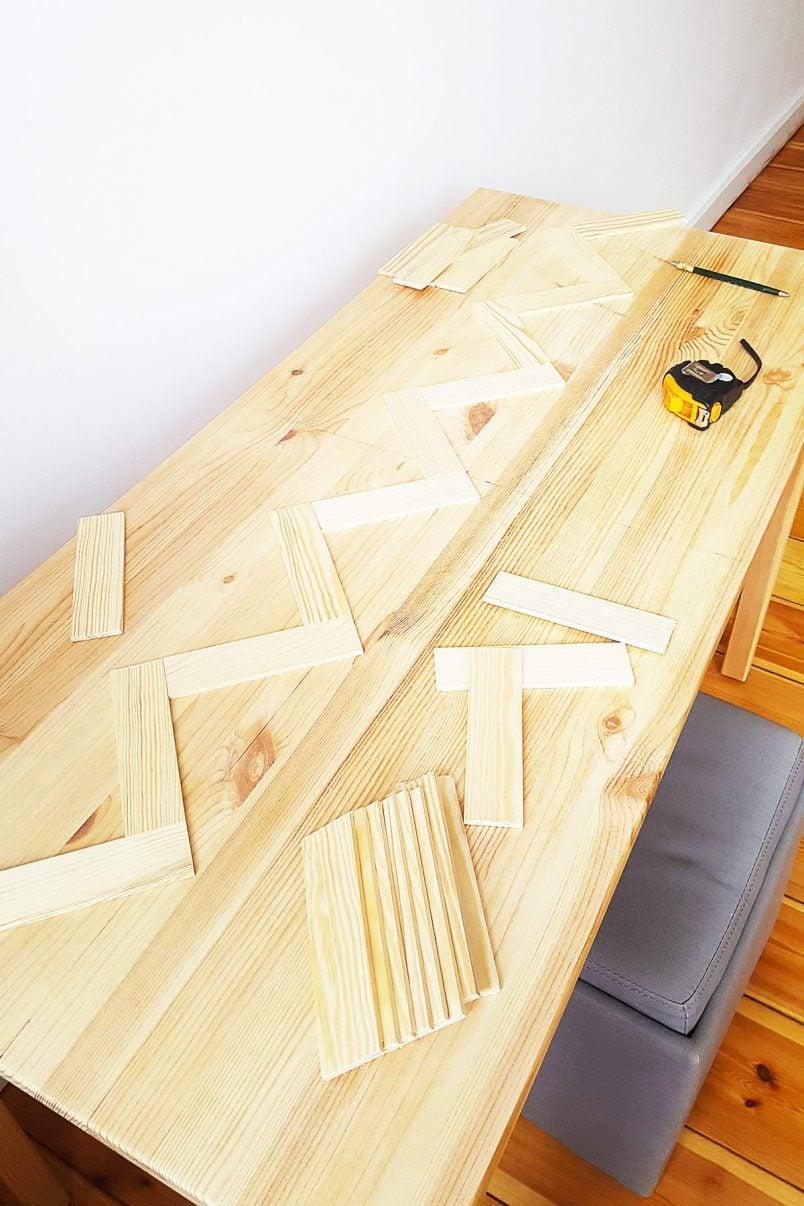 DIY Herringbone Desk - Testing Pattern | Little House On The Corner