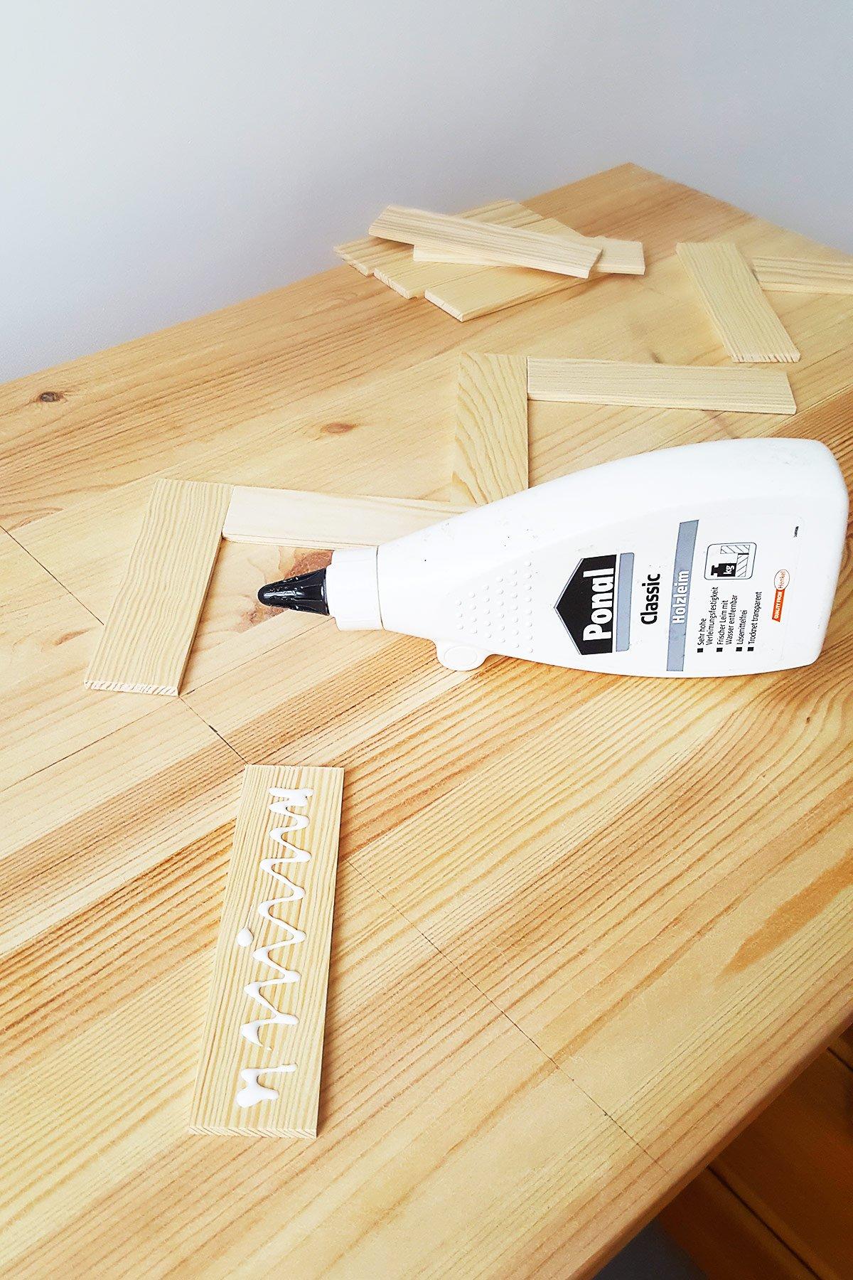 DIY Herringbone Desk - Filling | Little House On The CornerDIY Herringbone Desk | Little House On The Corner