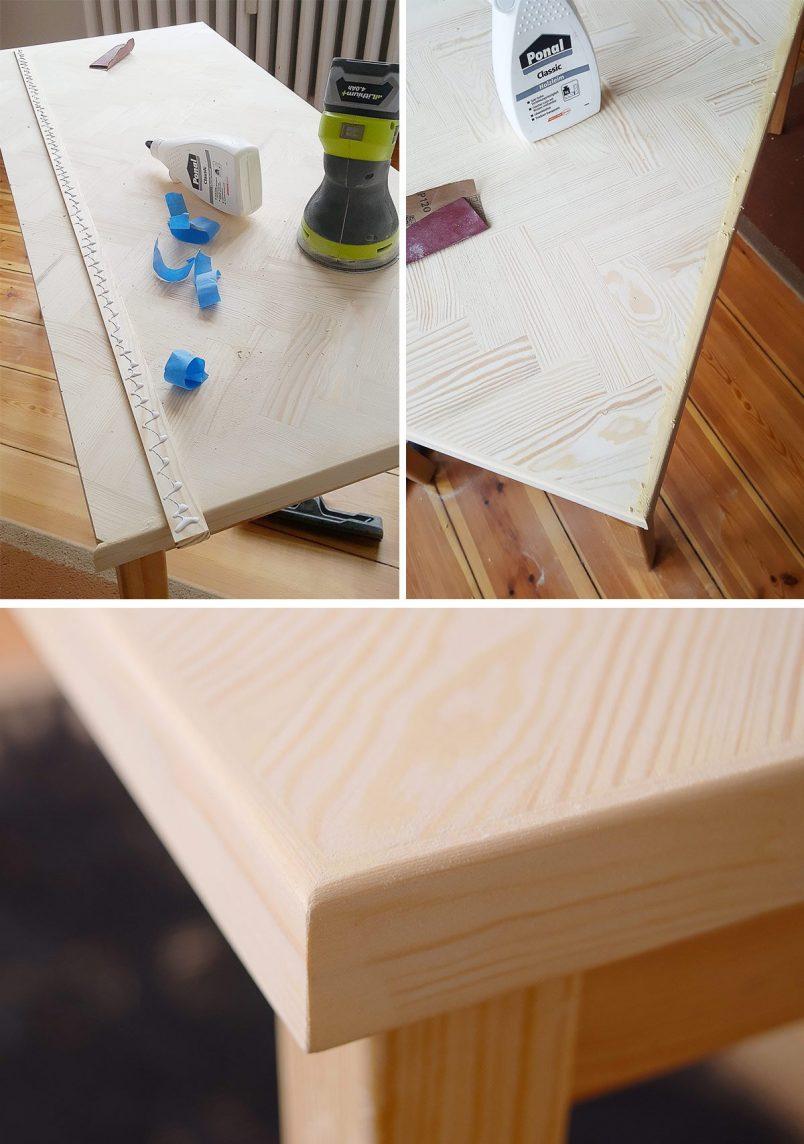 DIY Herringbone Desk - Edging Strip - Little House On The Corner