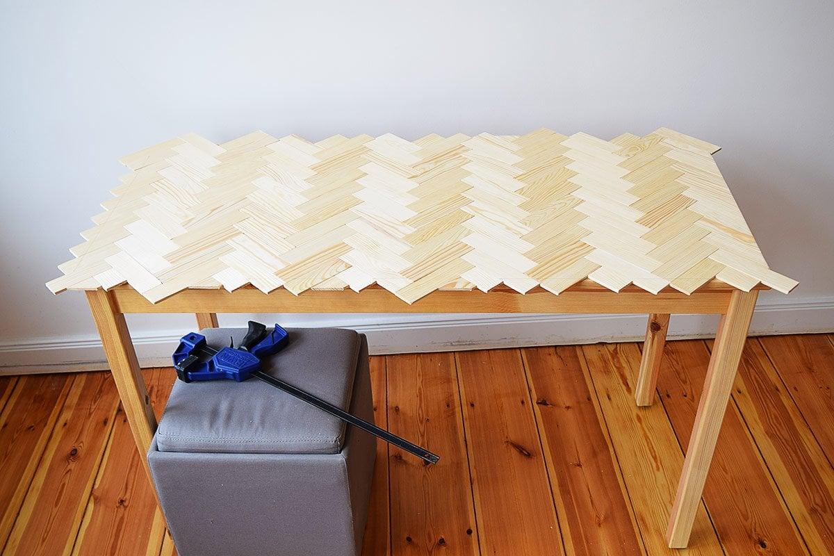 DIY Herringbone Desk In Progress| Little House On The Corner